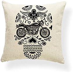 KUSTOM FACTORY - Cojín de calavera y moto vintage
