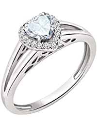 Silvernshine 7mm Heart Cut Sim Diamond Halo Engagement Ring In 14K White Gold Plated