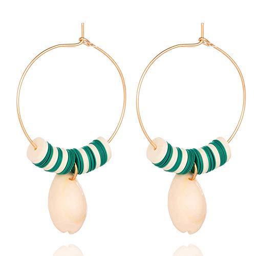 Zuiaidess orecchini a bottone donna,naturali unici big shell orecchini pendenti per le donne di moda colore verde orecchini a pendente fascino gioielli doni