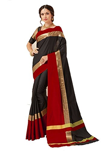 Indian Beauty Women's with Blouse Piece Art Silk Saree (Blue N_Black_Free Size)