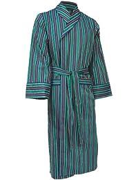 Lloyd Attree & Smith - robe de chambre légère 100% coton - rayé bleu marine / vert / or - homme