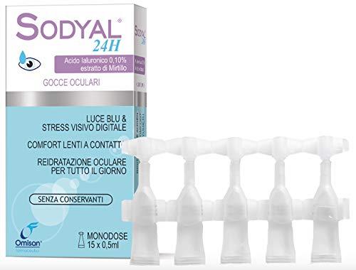 Sodyal 24 gocce oculari monodose, senza conservanti, con acido ialuronico e mirtillo - pacco da 2 pezzi