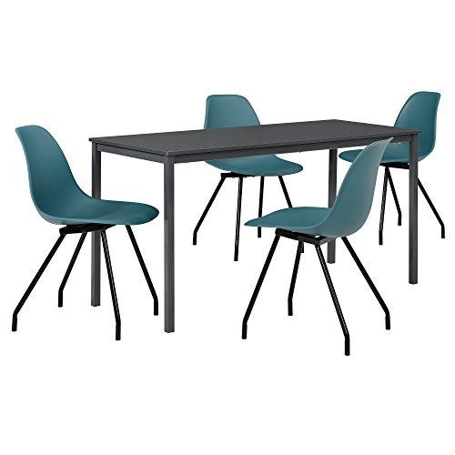 [en.casa] Hochwertiger Esstisch in dunkelgrau mit 4 türkisen Designer-Stühlen - 140cm x 60cm