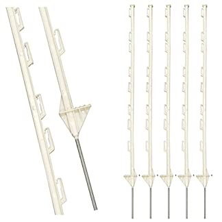10 x 4ft Tall White Electric Temporary Fencing Fence Plastic Poly Posts Horse Paddock Stakes Poles 4