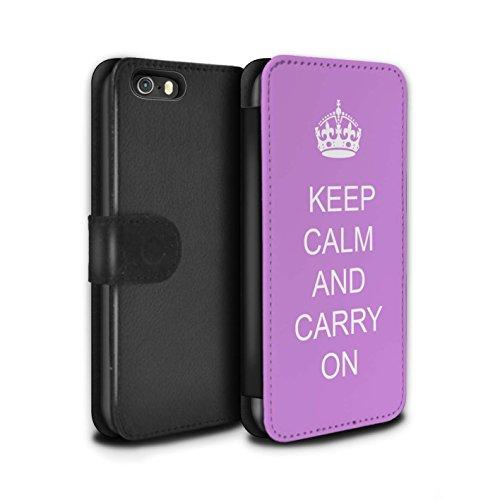 Stuff4 Coque/Etui/Housse Cuir PU Case/Cover pour Apple iPhone SE / Boire du Thé/Bleu Design / Reste Calme Collection Continuer/Rose