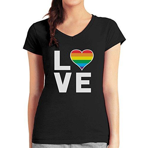 Love - Regenbogen Herz Liebe Schwul Lesbisch Damen T-Shirt V-Ausschnitt Schwarz