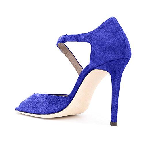 Damen Peep Toe Sandalen D'Orsay Pumps Samt Stiletto High-Heels Blau