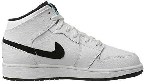 Nike Air Jordan 1 Mid Bg, Scarpe da Basket Bambino Bianco (White/Black/White/Hyper Jade)