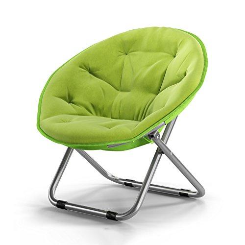 FENGFAN Klappbarer runder Stuhl Steel + Canvas Sofa Chair Moon Chair Sonnenliegen Chaise Longue Starke Rutschfeste 5 Farben Klappstuhl (Farbe : A) -