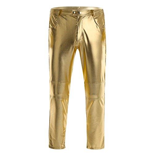 iiniim Herren Hosen Wetlook Männer Lederhose Glanz Hose Pants Leggings Tanz Clubwear Schwarz M-4XL Gold M (Schwarz Und Gold-leggings)