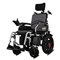 ACEDA Heavy Duty Electric Wheelchair With Headrest, Foldable And Lightweight Powered Wheelchair,Seat Width: 46Cm,360° Joystick, Weight Capacity 120KG