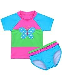 f6bb1ae524530 iiniim Maillot de Bain Deux Pièces Natation Piscine Baignade Bébé Fille  Imprimé Papillon T-Shirt
