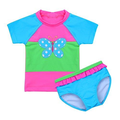 iiniim Kinder Mädchen Zweiteiler Tankini Bikini UV-Schutz Badeset Badeanzug Schwimmanzug Tops mit Brief Gr.80-116 Blau 92-98/2-3 Jahre