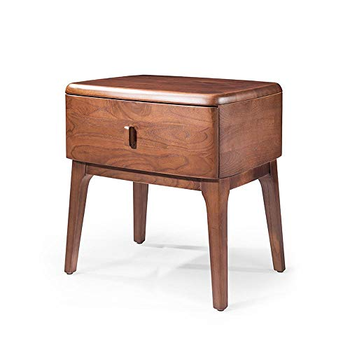QKJD Walnuss Nachttisch einfache Einzelschublade Massivholz Schlafzimmer Schrank Seitenschrank einfache Holzmöbel 40x40x50CM