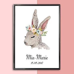 Personalisiertes Bild Hase mit Blumenkranz   Geschenk zur Geburt