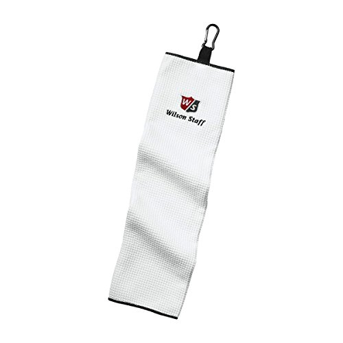 Wilson Staff WGA3202WH Serviettes de Golf Trois Plis, Mousqueton, Hautement absorbant, Microfibre,...