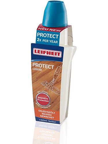 Leifheit Pflegemittel Protect für geöltes/gewachstes Parkett 625ml Holzpflegemittel, Parkettpflege mit Leinöl, Holzlasur schützt vor Wasser & Abrieb