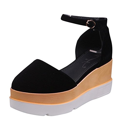 Mee Shoes Damen Keilabsatz Knöchelriemchen Pumps Schwarz