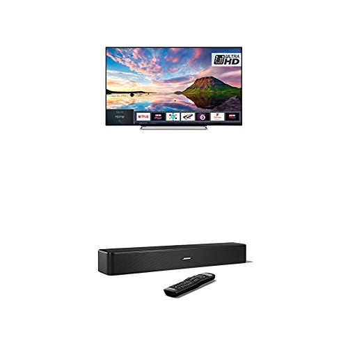 Toshiba 43U5863DB 43-Inch Smart 4K Ultra-HD HDR LED TV with Freeview Play, Black/Silver and Bose Solo 5 TV Soundbar System, Black Bundle