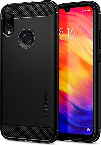 Spigen, Funda Compatible con Xiaomi Redmi Note 7 / Redmi Note 7 Pro/Redmi Note 7S, [Rugged Armor] Absorción de Choque Resistente y diseño de Fibra de Carbono - [Negro Mate]