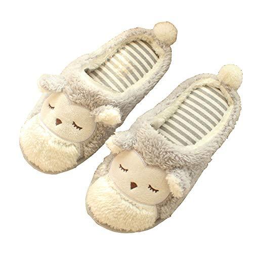 XIU Pantoffeln,Damen Baumwoll-Hausschuhe,Nette Tierform des Karikaturhauptinnenraums, zum zu Hause warm zu halten, 37/38