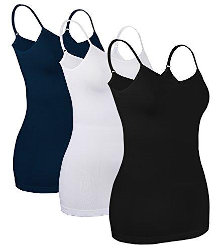 3X Tanktops Mädchen T Shirt ärmellos unterhemden Schwarz+Weiß+blau Tee Shirt,DE 34-36 (Etikette M)