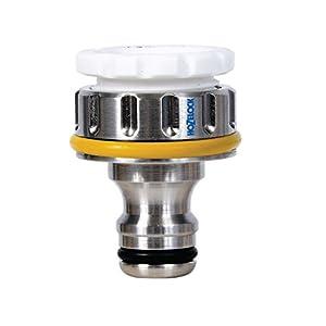Hozelock – Conector metálico para grifo exterior de rosca de 3/4» y 1/2»