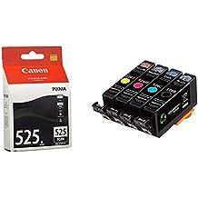 Canon PGI-525 Cartouche BK Noire (Emballage Carton) & AmazonBasics Lot de Cartouches d'encre Canon CLI-526 (Reconditionné Certifié)