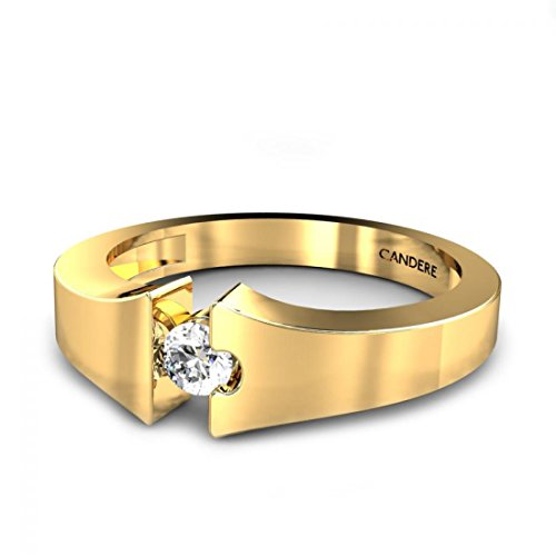 Candere By Kalyan Jewellers 18KT Yellow Gold and Diamond Ring for Men