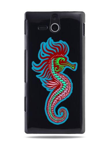"""GRÜV Premium Case - Design """"Moderne Kunst, Süßes Seepferdchen"""" - Qualitativ Hochwertiger Druck Schwarze Hülle - für Sony Ericsson Xperia U ST25i"""