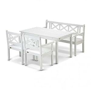 Skagerak Skagen Garten-Set 4tlg., weiß lackiert Eukalyptusholz 1 Tisch, 1 Gartenbank, 2 Gartenstühle