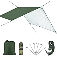 Toldo de Refugio Impermeable, Toldo de Lona Resistente al Agua y Rayos UV Portable Ligero, Lona de Tienda para Camping Senderismo al Aire Libre ( Color : Verde )