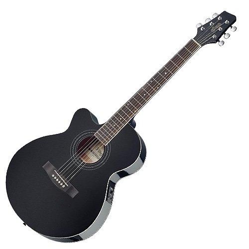 Stagg SA40MJCFI-LH BK - Guitarra electroacústica, color negro
