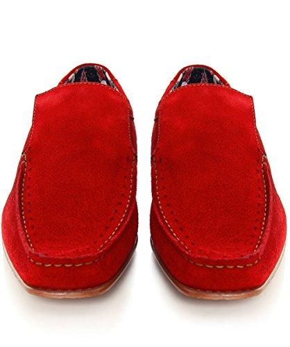 Jeffery-West Hommes mocassins daim Rouge Rouge