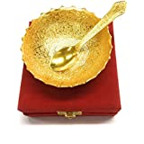 Kuber Industries Elephant Design Brass Bowl And Spoon Set (12 Cm X 10 Cm X 1 Cm, Golden, SRVP01)