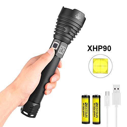 Starke Taschenlampe LED Extrem Hell Aufladbar Outdoor Taschenlampe, LUXNOVAQ USB Zoombare 10000 Lumen XHP90 Große Taktische Taschenlampe Wasserdichte Power Handlampe mit 2 Akku und 3 Modi für Camping