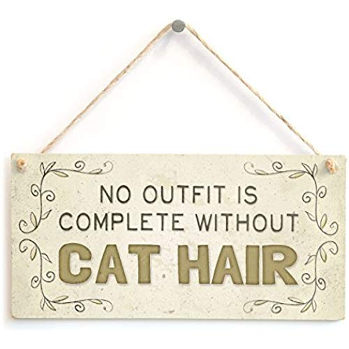 Schild mit Aufschrift No Outfit is Complete Without Cat Hair