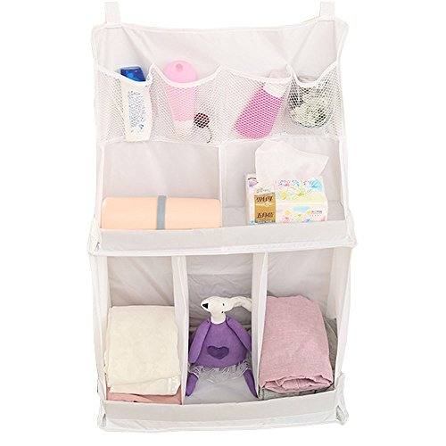 KINDOYO Bedside Organiser Net Baby Nursery Bag Hanging Storage Bag Cup Holders for Clothing Books Phones Diapers Toys Baby Cot Bed Diaper Hanging