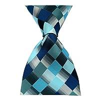Secdtie Men's Classic Checks Purple Grey Jacquard Woven Silk Tie Necktie Teal Blue