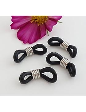 Gafas Cadenas Soporte negro, 20 x 5 mm, 2 pares (4 unidades) - Gafas de ojales trabillas