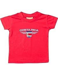 Shirtstown Bebé Camiseta De Niño Costa Rica, Emblema con el Nombre Deseado y Número de