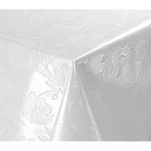 WACHSTUCH Tischdecken abwischbar Meterware, Größe wählbar, 100×140 cm, Relief, Blume Weiß