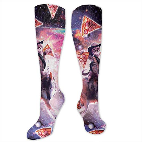 Gped Kniestrümpfe,Socken, Cowboy Pizza Space Cat Riding Wolf Socks Athletic Socks Knee High Socks For Men Women Sport Long Sock Stockings 50CM (Space Cowboys Kostüm)