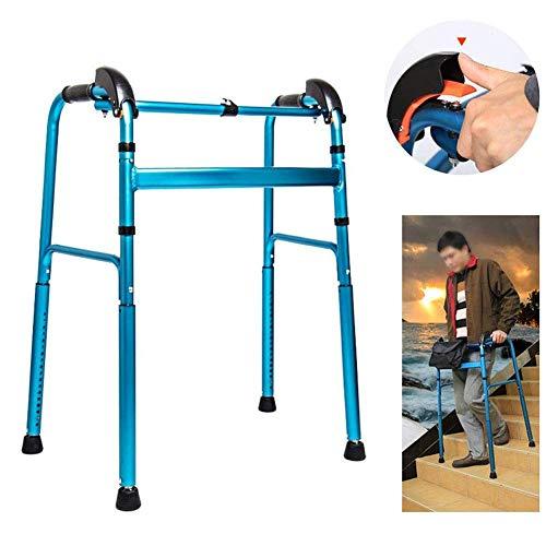 HJW Caminar Ayuda Auxiliar Estándar Andadores, Plegable de Aluminio Ligero Andador, con Altura Ajustable (76-96Cm) Del Marco Estático de Carga 100Kg de Los Padres Ancianos, Abuelos, Discapacitados Le