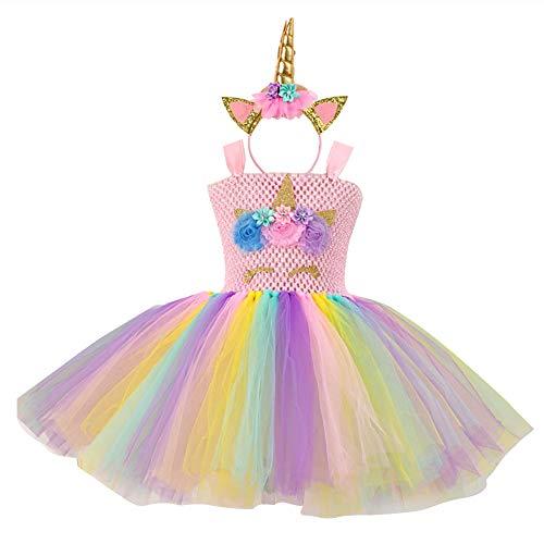 iSpchen Baby Kleinkinder Mädchen Einhorn Prinzessin Kleid Kinder Geburtstag Halloween Cosplay Ärmellose Regenbogen Tüll Tutu Kleid Hochzeitsfest Karneval Foto Schießen Kostüme Stirnband ()