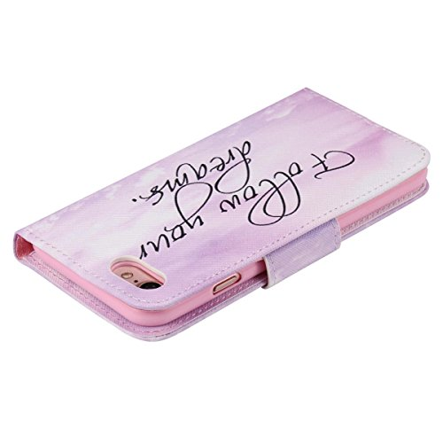 Custodia a portafoglio per iPhone 7/8 Pink Dandelion Follow Your Dream