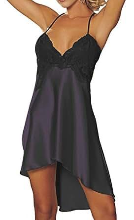rzs femme lingerie robe avec noeud soie comme nuisettes fine pyjamas bretelle d cor aux seins. Black Bedroom Furniture Sets. Home Design Ideas