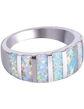 KELITCH Synthetik Blau Opal Ring Silber Überzogen Stapel Ring-Opal Ewigkeit Band Ring (Silber-bronze Weiß, 6)