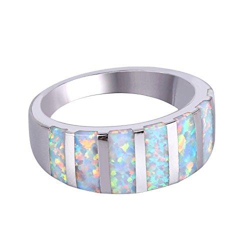 KELITCH Synthetisch Blau Opal Ring Silver Überzogen Stapelringe - Opal Ewigkeit Bandringe (Weiß, 10) Synthetische Opal Verlobungsring