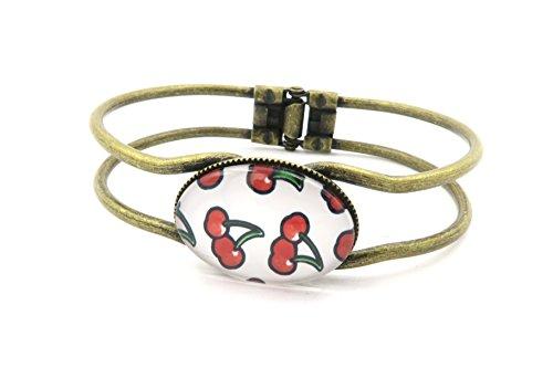 Kirschen Cabochon Armband Armreif bronzefarben-farben Armschmuck (Armband Kirsche)